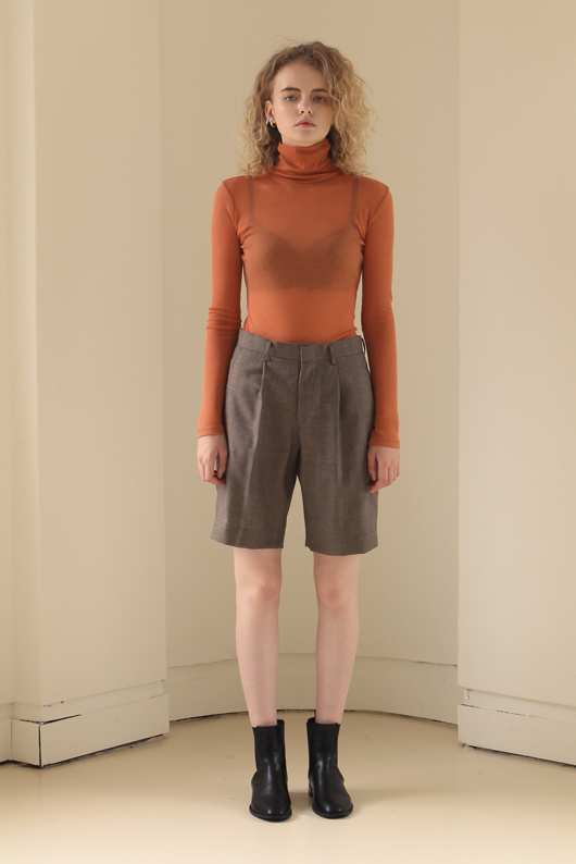 FOR HER WOOL SHORTS - BROWN