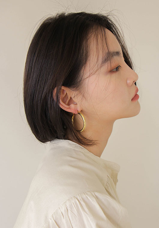 ONE TOUCH GOLD EARRING (925 silver)