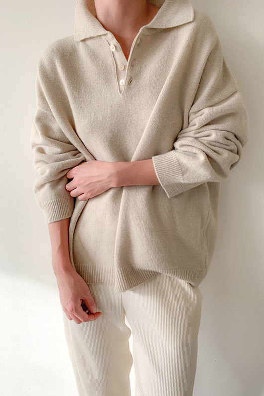 CASHMERE COLLAR KNIT